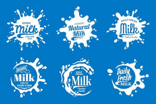 Logotipo do leite. ícones de leite, iogurte ou creme e respingos com texto de exemplo.