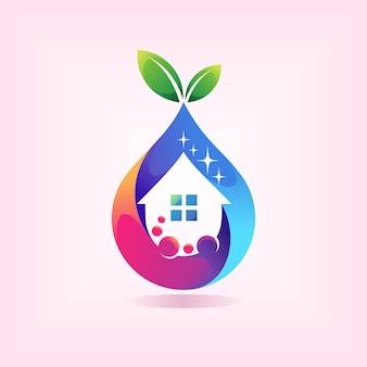 Logotipo do limpador de casa com conceito de gotas de água