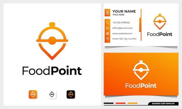 Logotipo do line art restaurant com ícone de alfinete combinado com um conceito de cloche