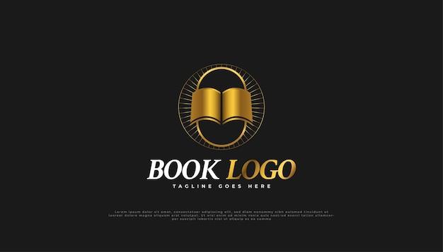 Logotipo do livro de luxo em gradiente de ouro e estilo vintage.