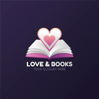 Logotipo do livro gradiente com livro aberto