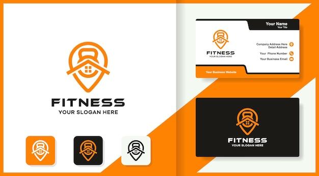 Logotipo do local de fitness doméstico e design do cartão de visita