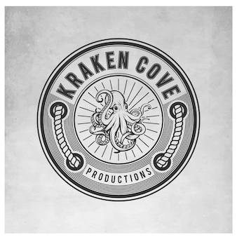 Logotipo do logotipo do vintage de kraken