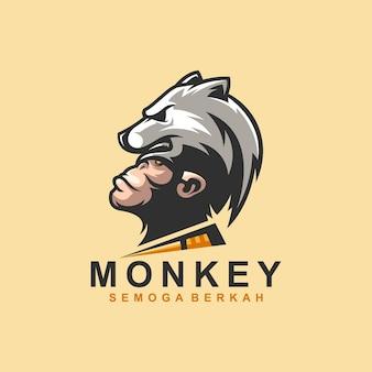Logotipo do macaco com urso para edição