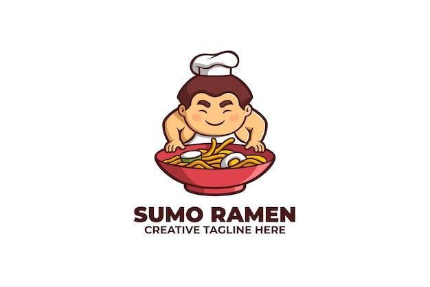 Logotipo do macarrão japonês tradicional do ramen sumo