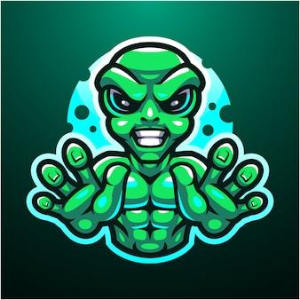 Logotipo do mascote alien esport