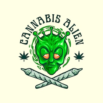 Logotipo do mascote alienígena da cannabis