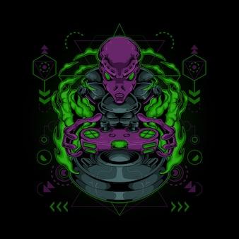 Logotipo do mascote alienígena esport