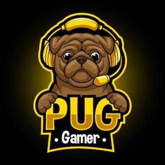 Logotipo do mascote animal do pug gaming