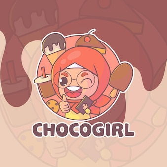 Logotipo do mascote boba da menina hijab bonito.
