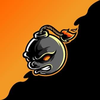 Logotipo do mascote bomb e sport Vetor Premium