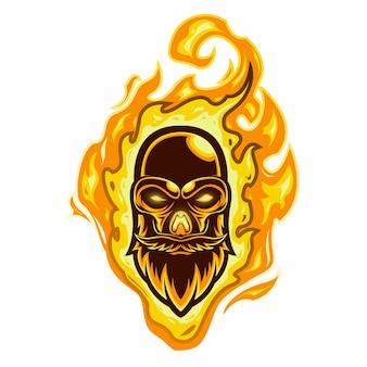 Logotipo do mascote cabeça de caveira de fogo
