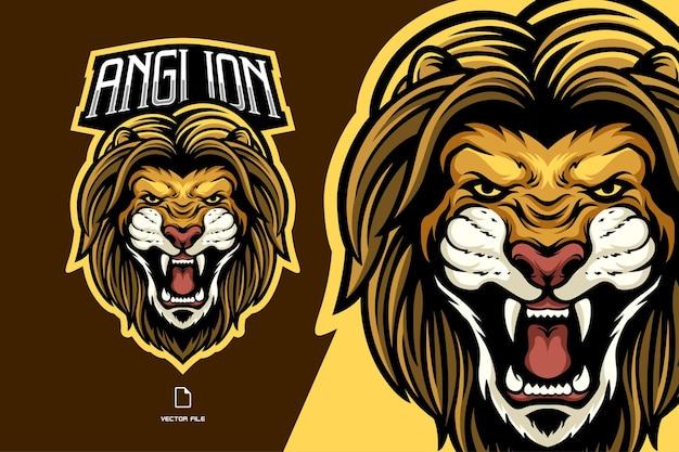 Logotipo do mascote cabeça de leão irritado esport