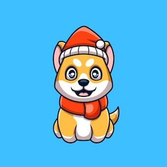 Logotipo do mascote criativo de natal de shiba inu