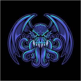 Logotipo do mascote cthulhu esport