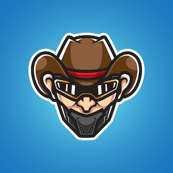 Logotipo do mascote cyborg cowboy head