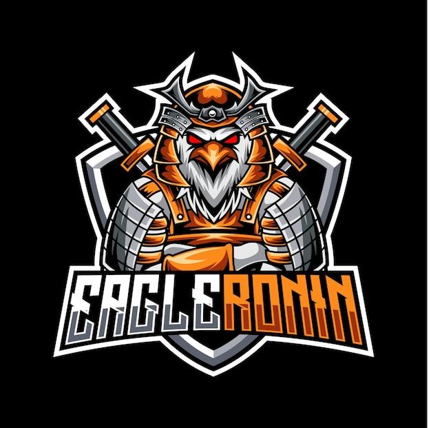 Logotipo do mascote da águia ronin para esportes e equipes esportivas