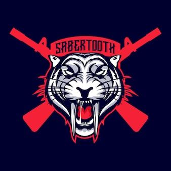 Logotipo do mascote da arma de fogo sabertooth
