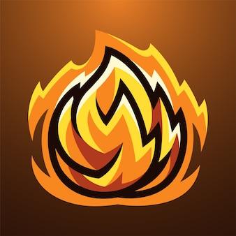 Logotipo do mascote da bola de fogo