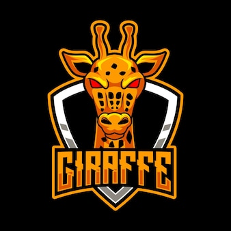 Logotipo do mascote da cabeça da girafa