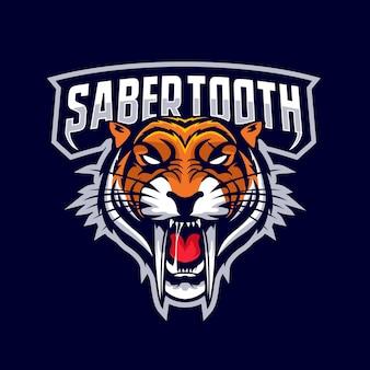 Logotipo do mascote da cabeça da sabertooth