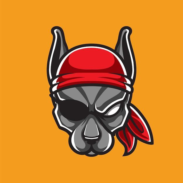 Logotipo do mascote da cabeça de cachorro piratas