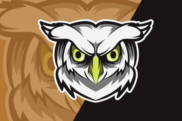 Logotipo do mascote da cabeça de coruja para jogos eletrônicos
