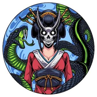 Logotipo do mascote da cabeça de gueixa com cobra