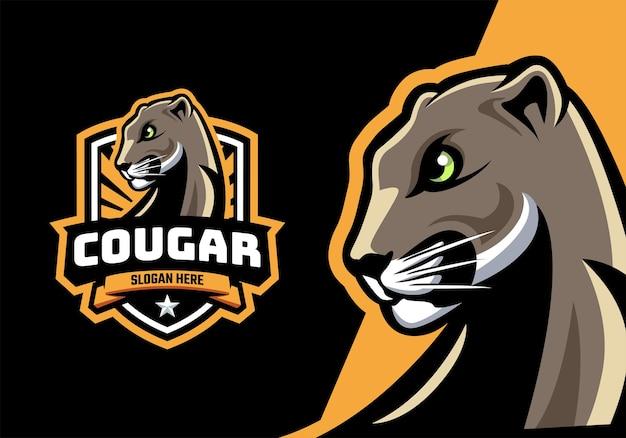 Logotipo do mascote da cabeça de puma