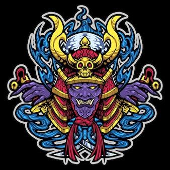 Logotipo do mascote da cabeça de samurai