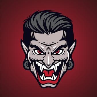 Logotipo do mascote da cabeça de vampiro