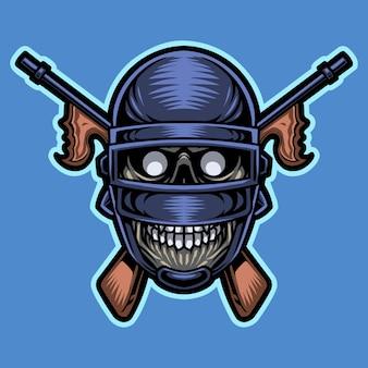 Logotipo do mascote da cabeça do crânio do exército