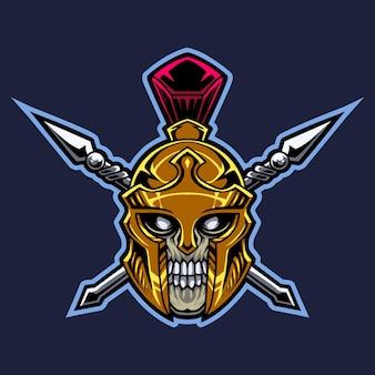 Logotipo do mascote da cabeça do crânio espartano
