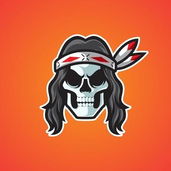 Logotipo do mascote da cabeça do crânio indiano