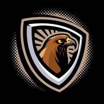 Logotipo do mascote da cabeça do falcão
