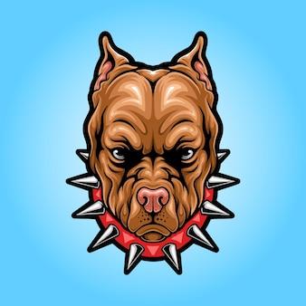 Logotipo do mascote da cabeça do pitbull