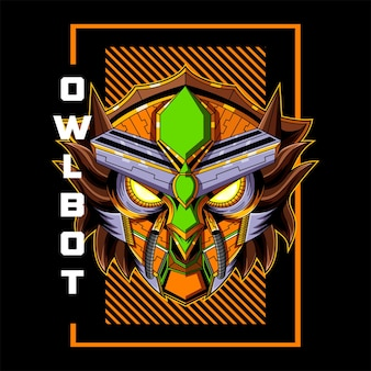 Logotipo do mascote da cabeça do robô da coruja