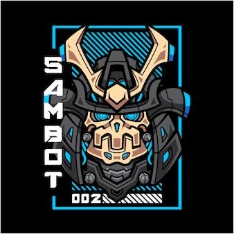 Logotipo do mascote da cabeça do robô samurai