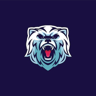 Logotipo do mascote da cabeça do urso polar furioso