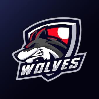 Logotipo do mascote da cabeça dos lobos