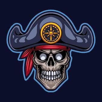 Logotipo do mascote da cabeça dos piratas