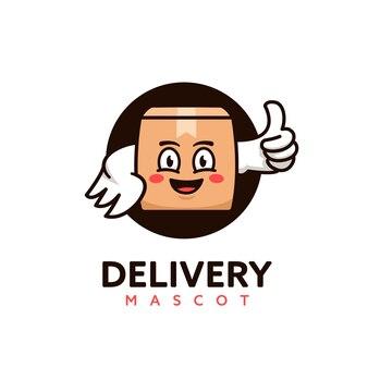 Logotipo do mascote da caixa do pacote do serviço de correio de entrega