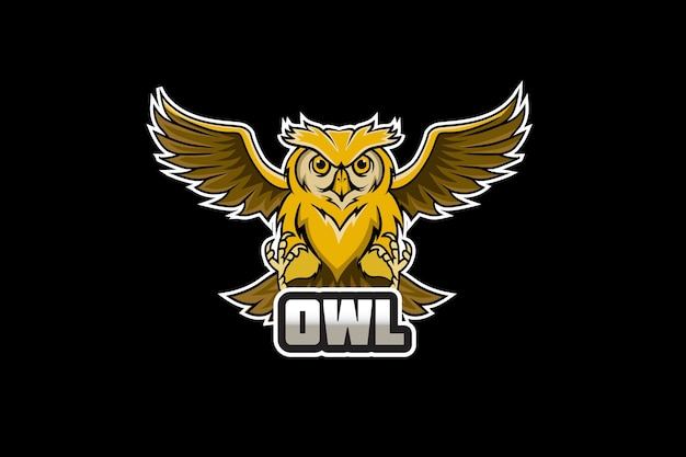 Logotipo do mascote da coruja para esportes e esportes eletrônicos