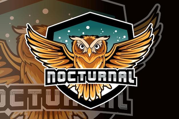 Logotipo do mascote da coruja para jogos eletrônicos