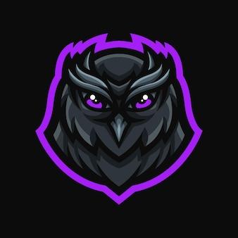 Logotipo do mascote da coruja para videogame twitch streamer gaming esports youtube facebook