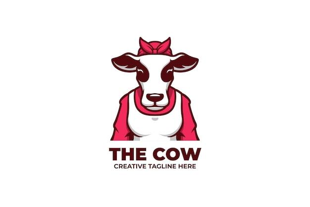 Logotipo do mascote da criação de gado leiteiro bovino