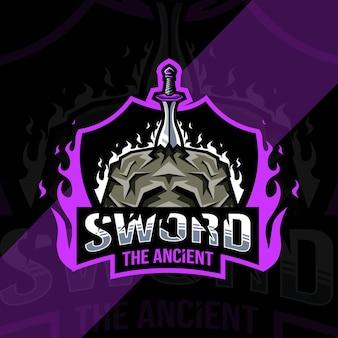 Logotipo do mascote da espada de pedra
