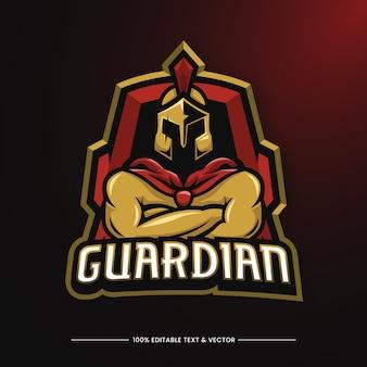 Logotipo do mascote da ilustração do guardian