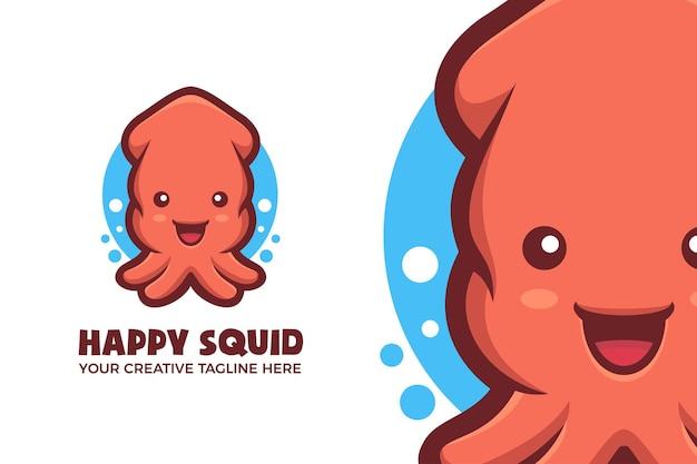 Logotipo do mascote da lula feliz
