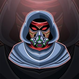 Logotipo do mascote da máscara de gás esport